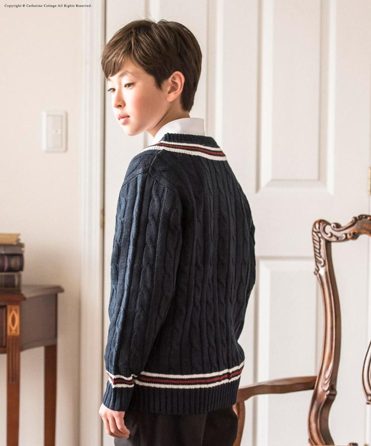 子供服 Vネックニット 長袖 ネイビー 男女キッズフォーマル