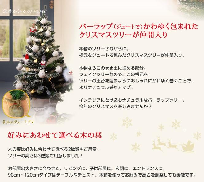 バーラップ(ジュートで)かわゆく包まれたクリスマスツリーが仲間入り
