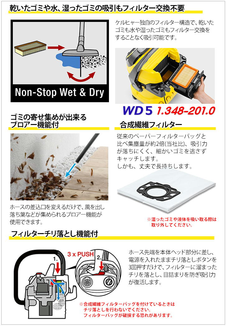 KARCHER 乾湿両用バキュームクリーナー 1.348-201.0 WD5 (ケルヒャー) 【送料無料】