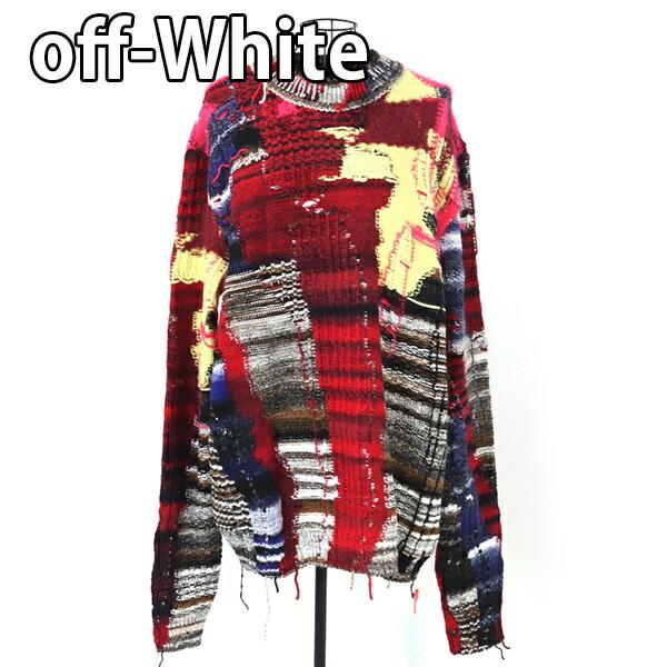 オフホワイト OFF-WHITE ニット セーター パッチワーク 【OFF WHITE 大きいサイズ 男性 ロングスリーブニット KNITWEAR Business Casual ヴァージルアブロー 新品 正規品 セール】