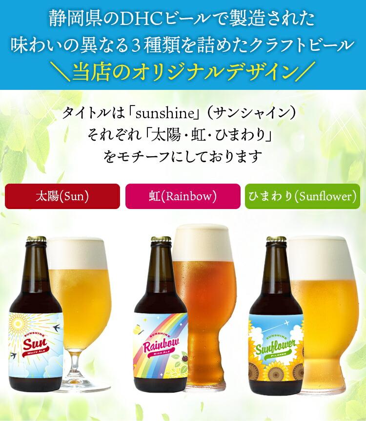 静岡県のDHCビールで製造された味わいの異なる3種類を詰めたクラフトビール