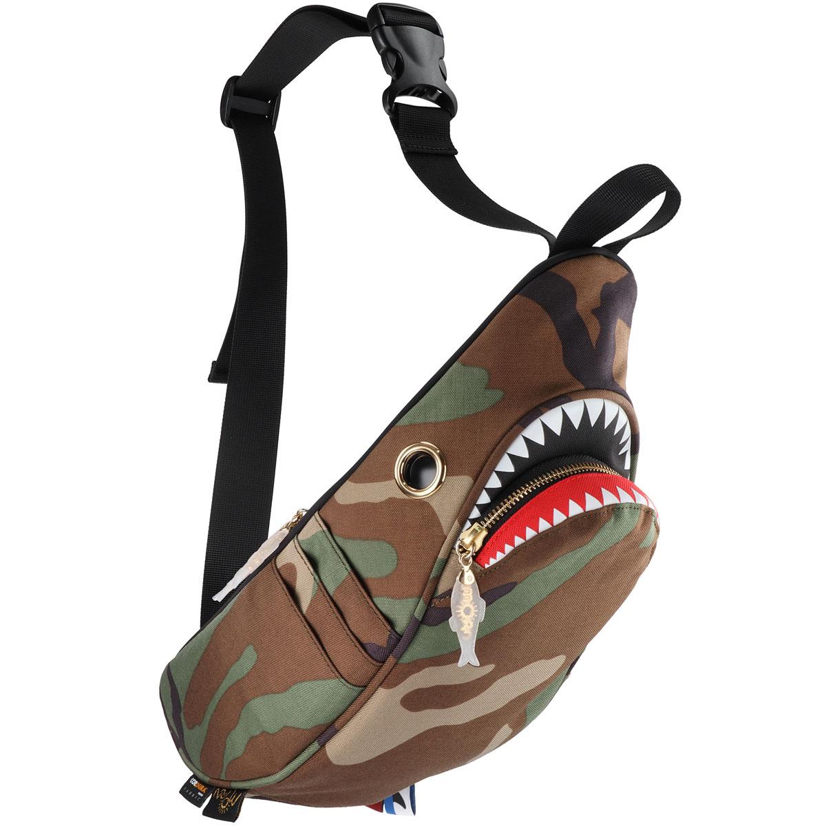 ウエストポーチ MORN CREATIONS シャークウエストポーチ サメバッグ 正規品 ウエストバッグ ウエストバック モーンクリエイションズ シャークバッグ カモフラ