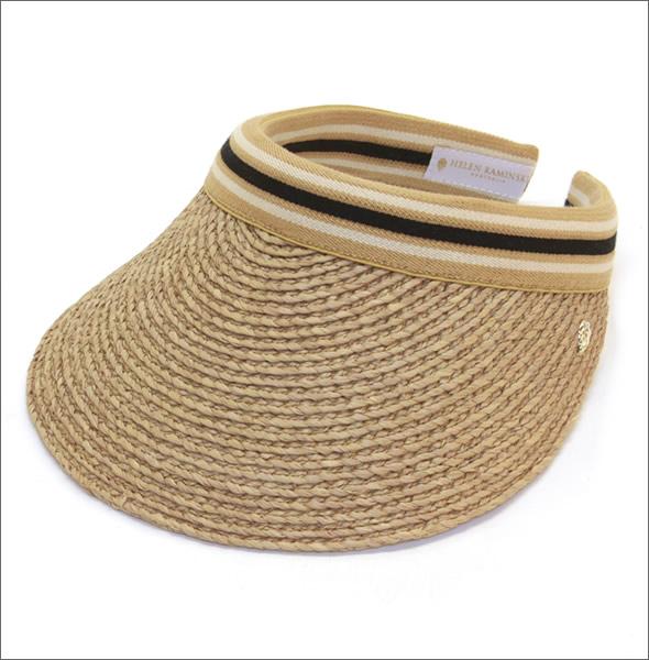 ヘレンカミンスキー Bianca/Nougat/Black Stripe ビアンカ UPF50+ クリップ サンバイザー ラフィア製ハット レディス帽子