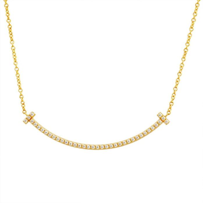 ティファニー TIFFANY&CO 34684456 Tiffany T スマイル ダイアモンド ペンダント ミニ 0.01ct 18KYG ネックレス