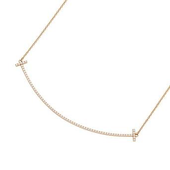 390adc118 ティファニー TIFFANY&CO 34946086 Tiffany T スマイル ペンダント ネックレス 18KRG×ダイアモンド 41cm〜46cm