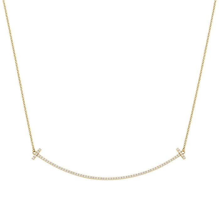 ティファニー TIFFANY&CO 34946078 Tiffany T スマイル ペンダント ネックレス 18KYG×ダイアモンド 41cm〜46cm