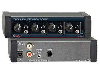 1系統のステレオ入力を4系統のステレオ出力に分配。個別に動作、容易にレベル調整が出来る各出力ノブ付き
