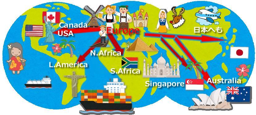 世界地図世界へ輸出