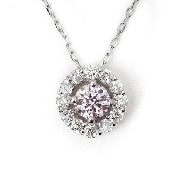 天然 ピンクダイヤモンド ペンダント ネックレス K18WG