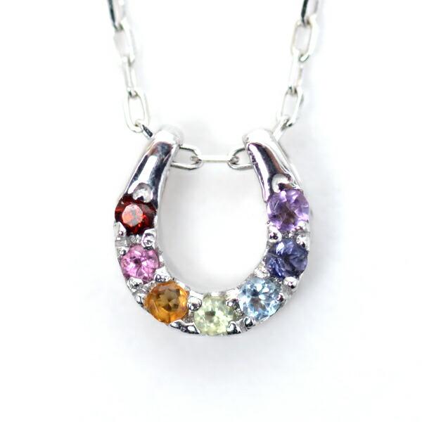 7色 アミュレット ネックレス ダイヤモンド ネックレス リバーシブル 馬蹄 ホースシュー 厄除け お守りペンダント