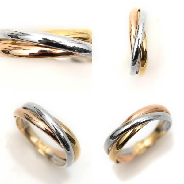 18金 リング プラチナ リング K18YG K18PG Pt900 3色 デザインリング 指輪 シンプル 3連リング調 ファッションリング