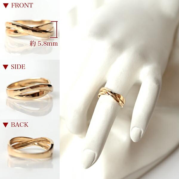 18金 リング 指輪 k18リング 18金ゴールドリング 多面カット ウェーブライン 2連調 デザインリング