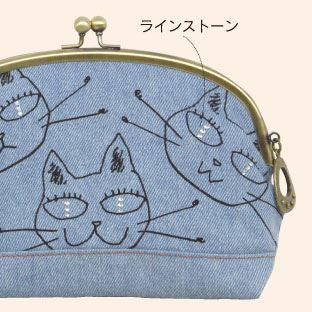 ジニーズ がま口ポーチ (ノアファミリー 猫グッズ ネコ雑貨 ねこ柄 帆布ポーチ)051-A732