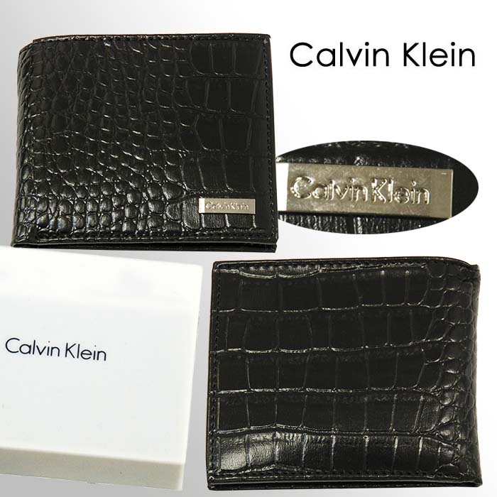 Calvin Klein クロコ型押し 2つ折り財布、ギフトボックス入り