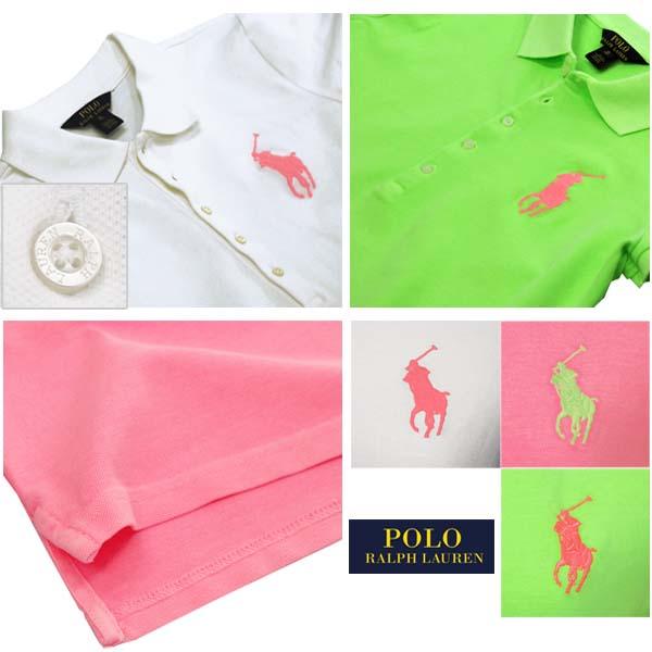 ガールズ ビッグポニー半袖鹿の子ポロシャツ ピンク、ホワイト、グリーン