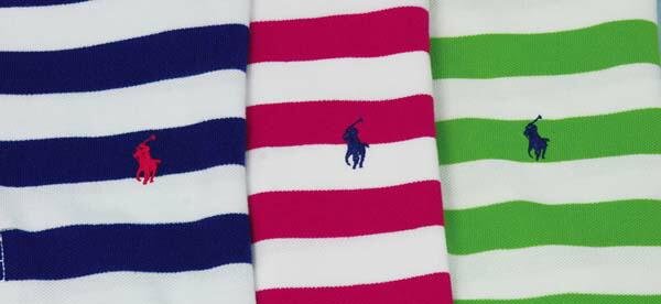 ボーダー半袖鹿の子ラガーシャツ ブルー、ピンク、グリーン