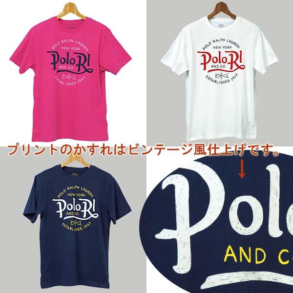 ラルフローレン POLO RLプリント半袖Tシャツ ホワイト ネイビー ピンク