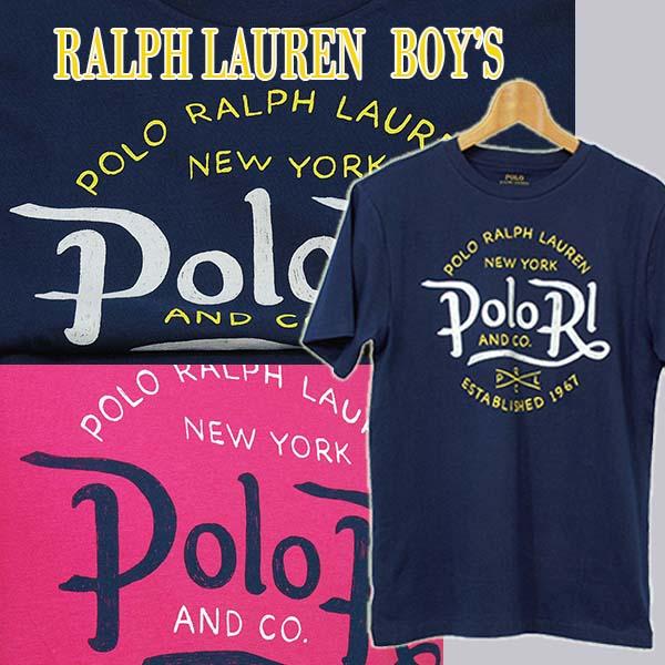 ラルフローレン POLO RLプリント半袖Tシャツ ピンク ネイビー 紺