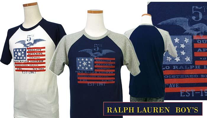 ラルフローレン USフラッグ半袖ベースボールTシャツ