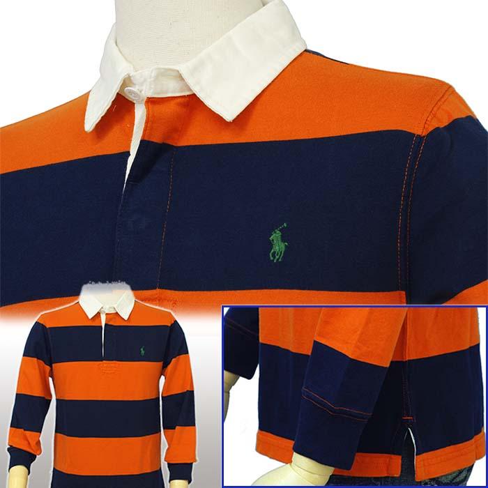 ラルフローレン ボーダー長袖ラガーシャツ オレンジ/ネイビー