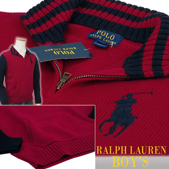 ラルフローレン ビッグポニーハーフジップセーター 紺/赤