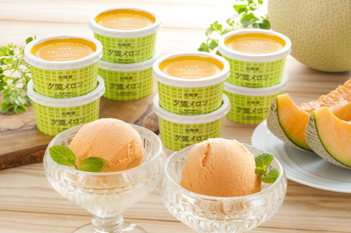 夕張メロンの果汁入りの北海道 夕張メロンアイス 価格3,240円 (税込)