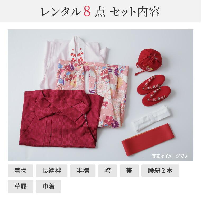 着物、長襦袢、半衿、袴、帯、腰紐2本、草履、巾着の8点セット