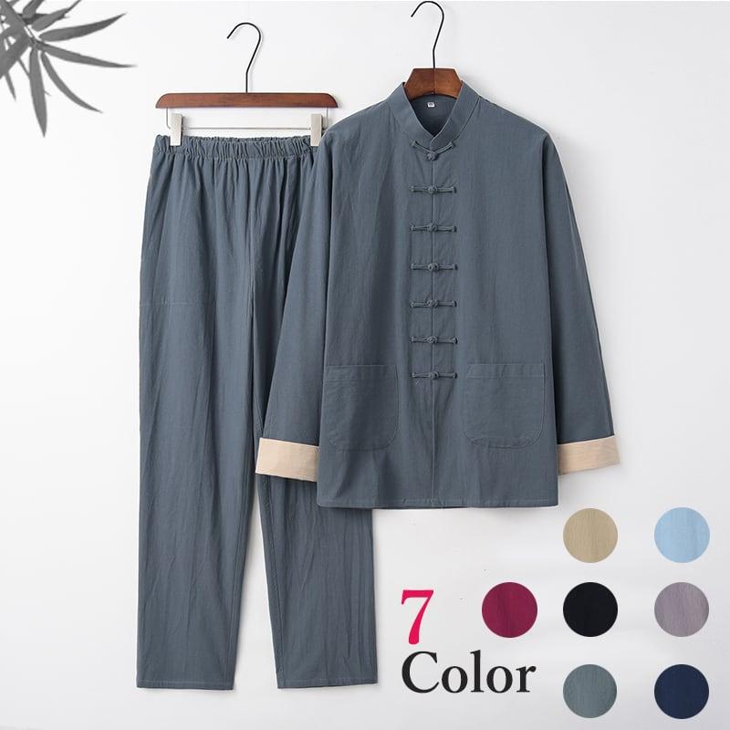 綿の柔らかさと麻の清涼感を持ち合わせたチャイナスーツ