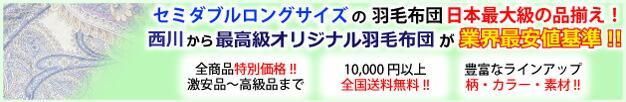 セミダブルロングサイズの羽毛布団 日本最大級の品揃え!
