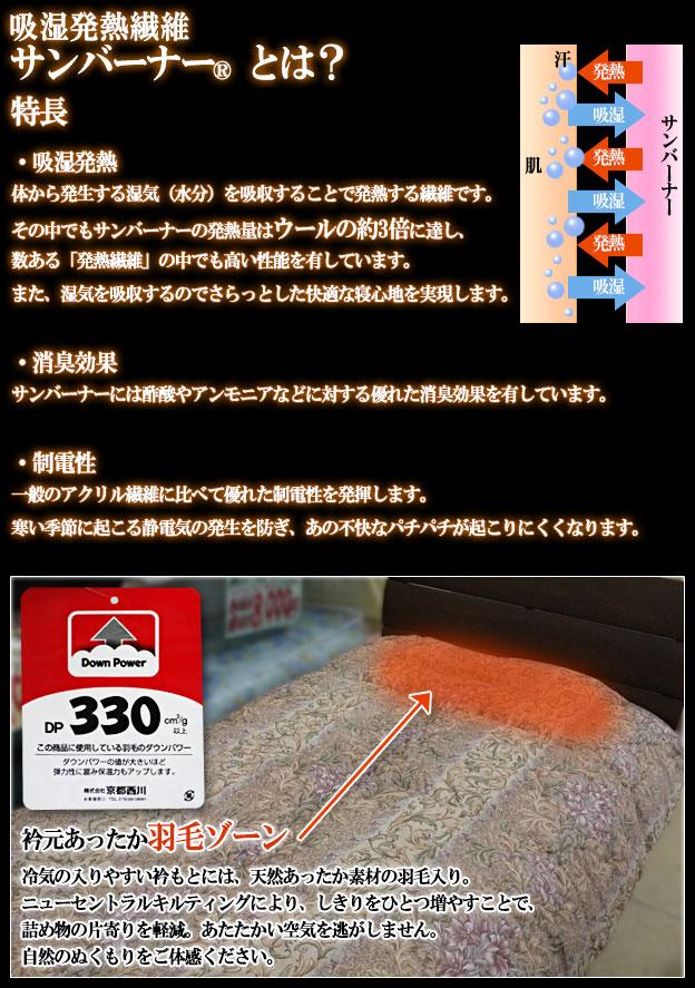 京都西川の日本製掛布団が驚きのお買得!数量限定品!吸湿発熱わたサンバーナー入り掛布団で暖か!
