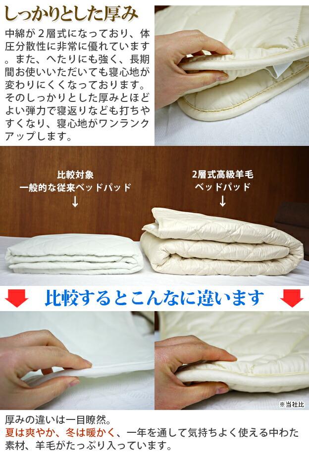 自然素材で快適な寝心地。高級ウール100%の2層式ベッドパッドをお手頃価格で!