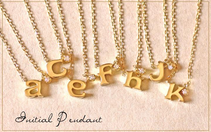 K18 ゴールド イニシャル ネックレス