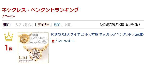 K18YG 0.1ct ダイヤモンド 6本爪 ネックレス/ダイヤモンド ペンダント/K18/18金/一粒 ダイヤ