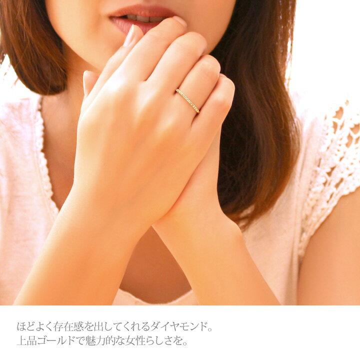 K18YG/PG/WG ゴールド ダイヤモンド ハーフエタニティリング 0.12ct 18金 リング 女性用 レディース 指輪 リング 着用