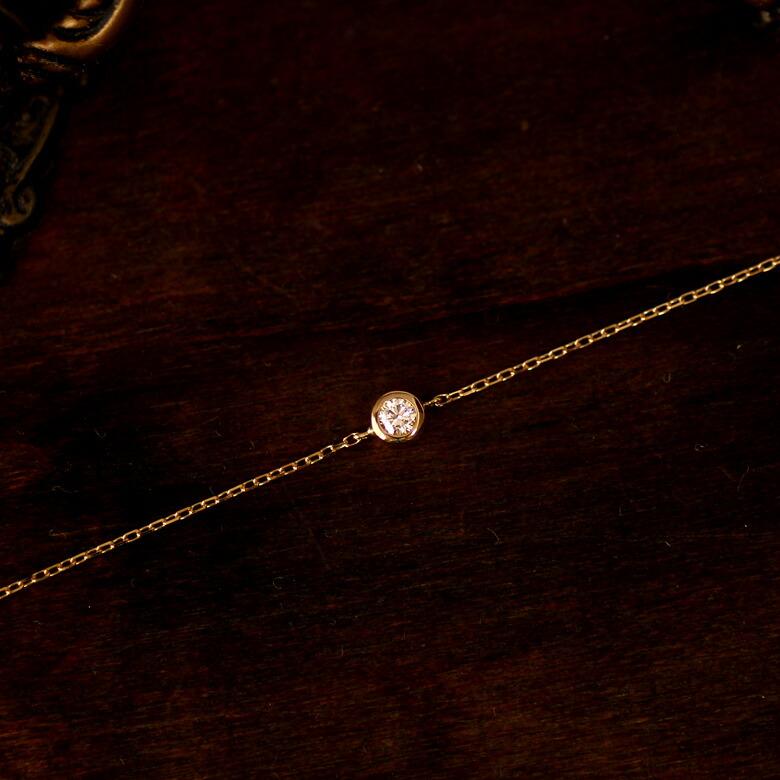 【一粒ダイヤ ブレスレット】ダイヤモンド/K18 YG/PG/WG ダイヤモンド ブレスレット 0.07ct/18金/18k ゴールド 華奢/裏クローバー/ギフト/誕生日/ladies/bracelet/14.5〜18cm