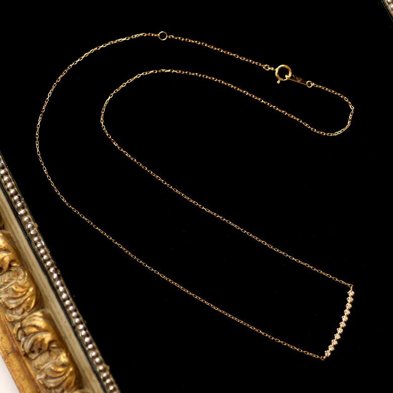 【ダイヤモンド ライン ネックレス】K18YG/PG/WG 0.10ct ダイヤモンド ネックレス バー ネックレス 送料無料 ダイヤモンド レディース 18金 18K カーブライン ディテール