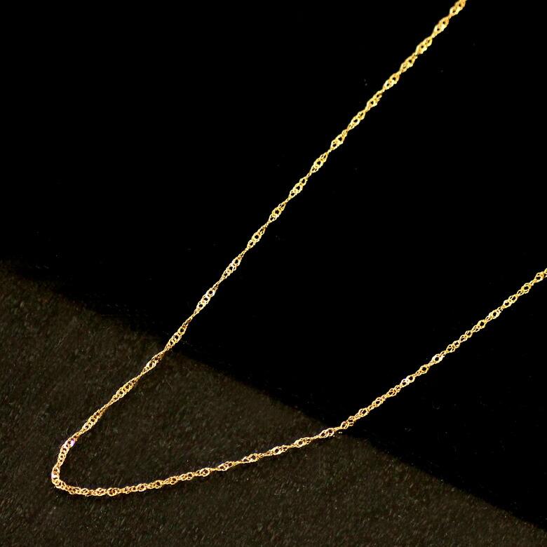 K18YG/PG/WG ゴールド スクリュー ネックレス 45cm