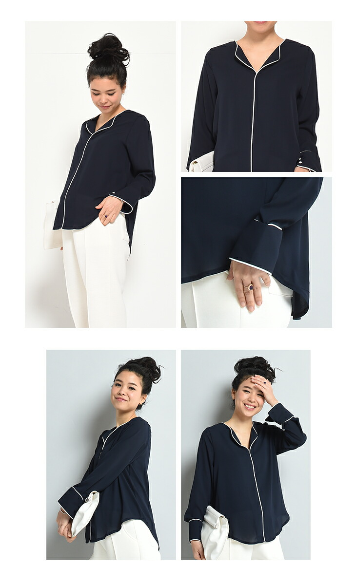 Vラインシャツ【マタニティ服】71k-3274