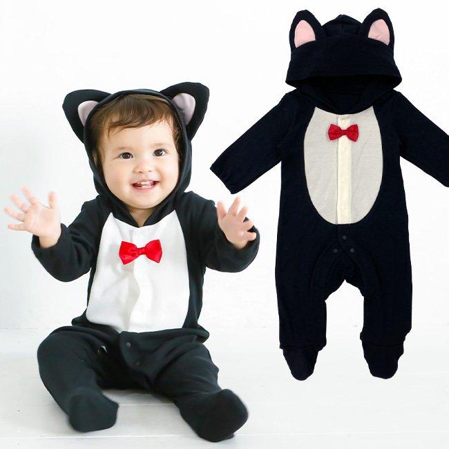 黒猫カバーオール