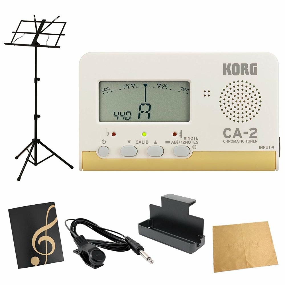 KORG CA-2 クロマチックチューナー AMS-40B 譜面台付き 譜面ファイル ト音記号ブラック 管楽器 吹奏楽 入門用6点セット