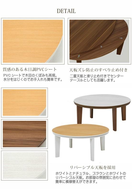 こたつ テーブル おしゃれ 木目調PVC 天板ズレ防止 滑り止め付き リバーシブル天板