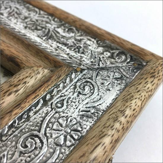 ウッド メタル フォトフレーム 木製 アンティーク