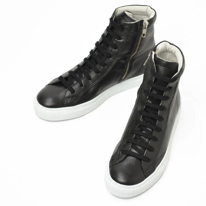 Amb【エーエムビー/アンバサダーズ】レザージップアップスニーカー ハイカット 1000ZIP KIPS leather NERO(ブラック)