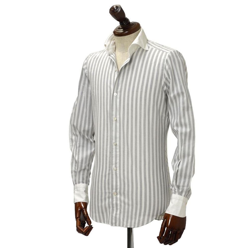 Finamore【フィナモレ】シャツ PIERO 12395 2 コットン クレリック ストライプ グレー×ホワイト