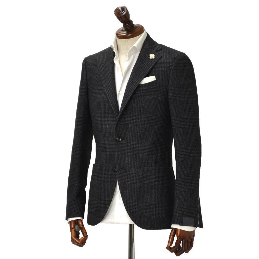 LARDINI【ラルディーニ】 シングルジャケット JL0526AQ IERP49591/303/1ウール グレンチェック グレー×ボルドー