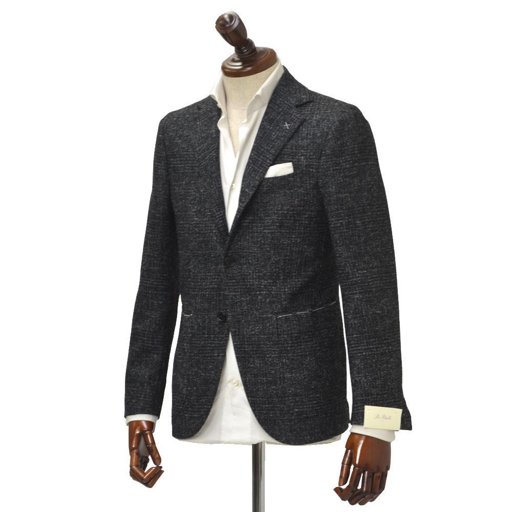 先行販売 早得 【袖修理無料】De Petrillo【デ ペトリロ】シングルジャケット Posillipo TW18243F 536 ウール シャドーチェック ブラック×ホワイト