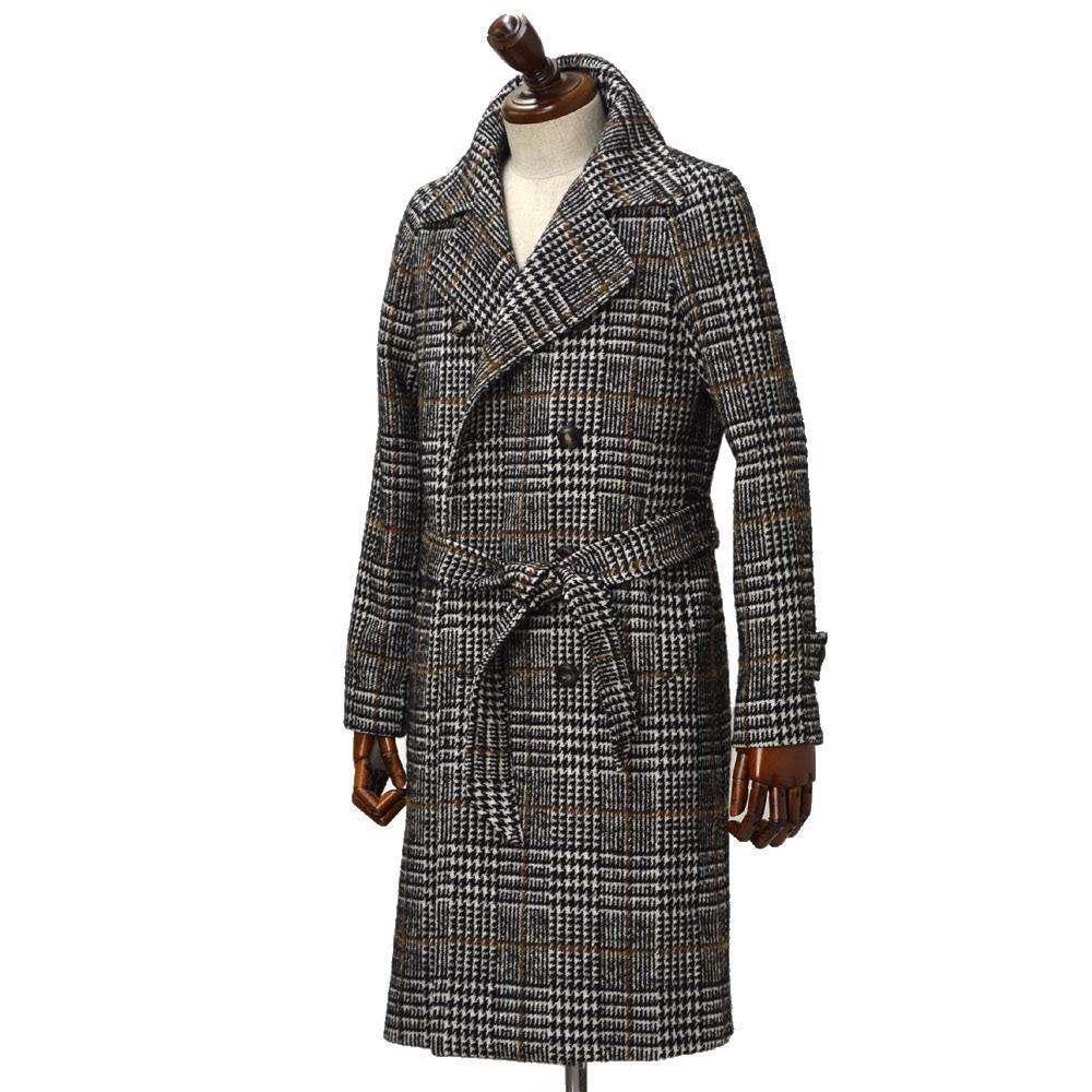 TAGLIATORE【タリアトーレ】ニーレングス ダブルベルテッドコート RIPA 77UIC111 N3512 コットン ウール グレンチェック ホワイト×ブラック