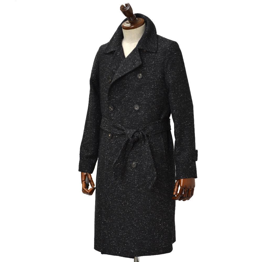 TAGLIATORE【タリアトーレ】ニーレングス ダブルベルテッドコート RIPA 61UIC074 N3060 ウール ナイロン カシミア ネップ ブラック