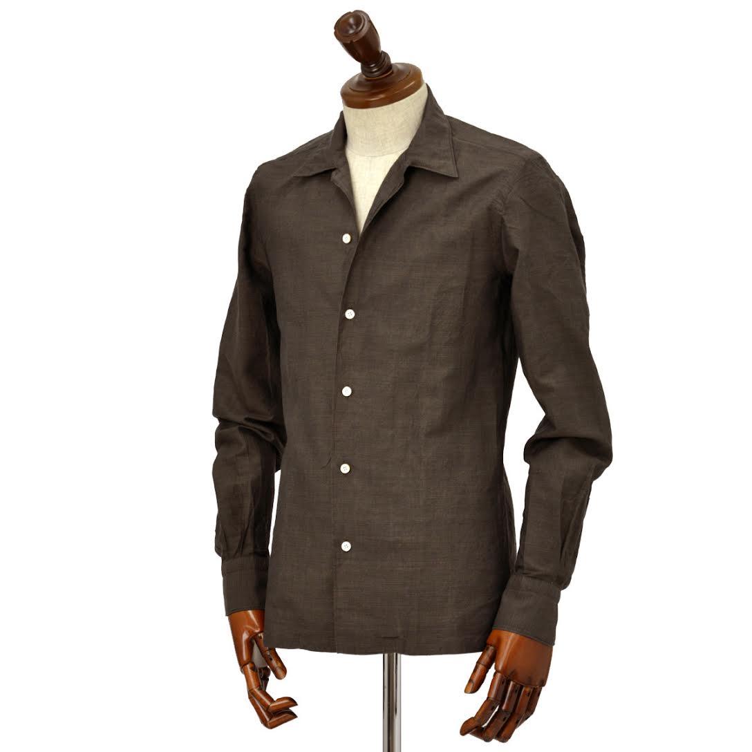 Finamore【フィナモレ】オープンカラーシャツ BART MILOS 080265 8 コットン リネン ブラウン