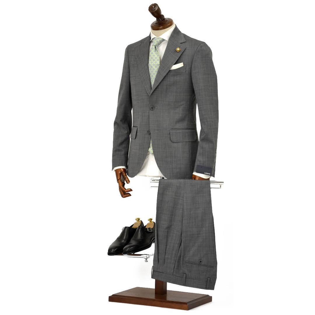 【送料無料】LARDINI【ラルディーニ】シングルスーツ ROW JM47005AQ EERP50490 43 ウール ピンドット グレー